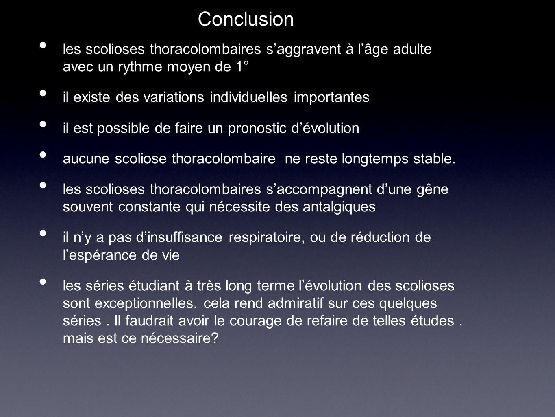 Conclusion les scolioses thoracolombaires s'aggravent à l'âge adulte avec un rythme moyen de 1° il existe des variations individuelles importantes.