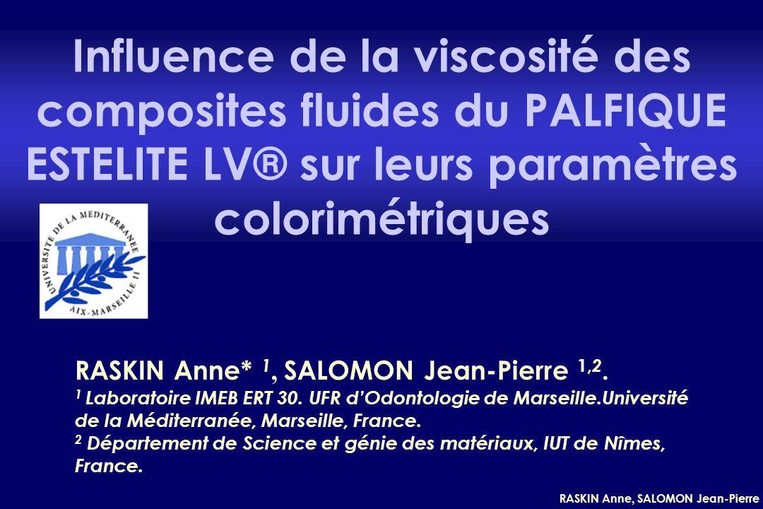 Influence de la viscosité des composites fluides du PALFIQUE ESTELITE LV® sur leurs paramètres colorimétriques