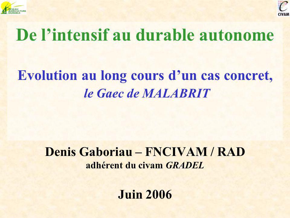 De l'intensif au durable autonome Evolution au long cours d'un cas concret, le Gaec de MALABRIT Denis Gaboriau – FNCIVAM / RAD adhérent du civam GRADEL Juin 2006