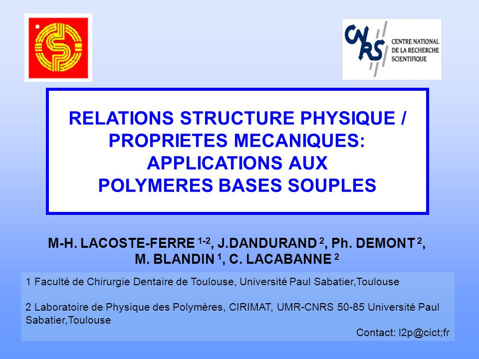 RELATIONS STRUCTURE PHYSIQUE / PROPRIETES MECANIQUES: APPLICATIONS AUX