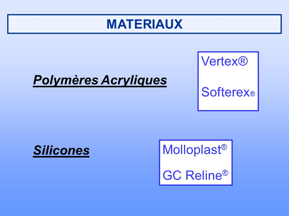 MATERIAUX Vertex® Softerex® Polymères Acryliques Silicones Molloplast® GC Reline®