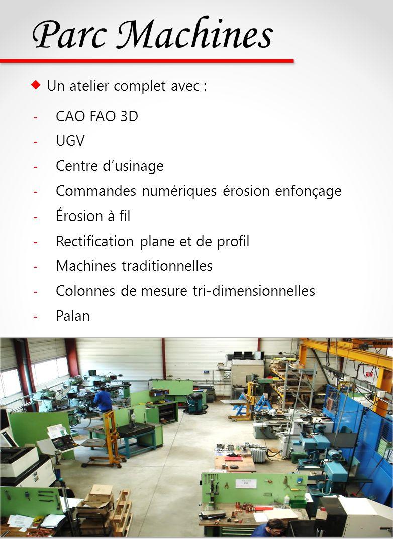 Parc Machines  Un atelier complet avec : CAO FAO 3D UGV
