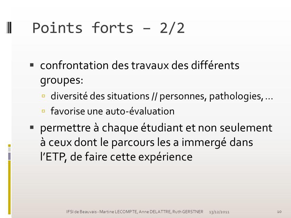 Points forts – 2/2 confrontation des travaux des différents groupes: