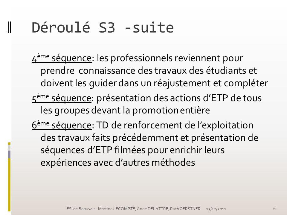 Déroulé S3 -suite