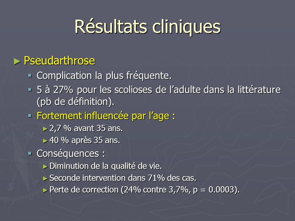 Résultats cliniques Pseudarthrose Complication la plus fréquente.