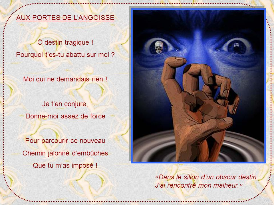 AUX PORTES DE L'ANGOISSE