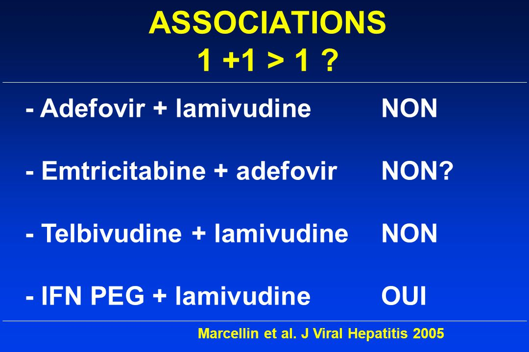 ASSOCIATIONS 1 +1 > 1 - Adefovir + lamivudine NON