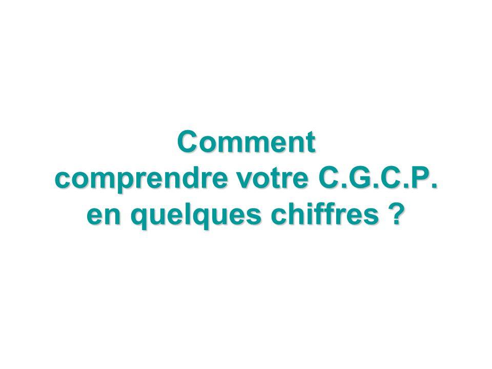 Comment comprendre votre C.G.C.P. en quelques chiffres