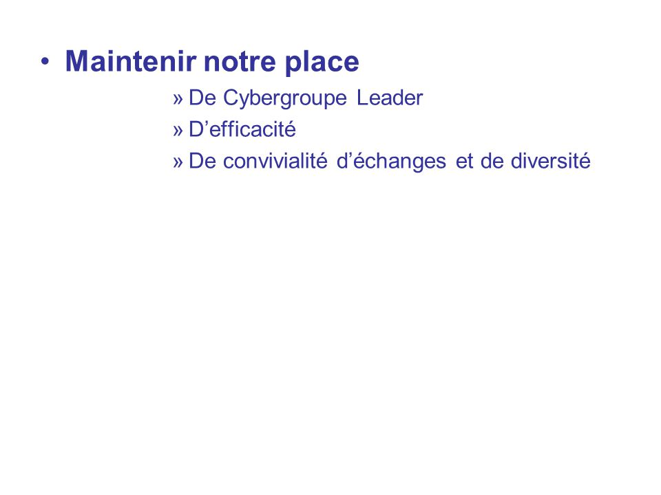 Maintenir notre place De Cybergroupe Leader D'efficacité