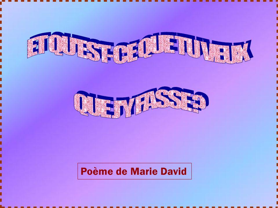 ET QU EST-CE QUE TU VEUX QUE J Y FASSE Poème de Marie David