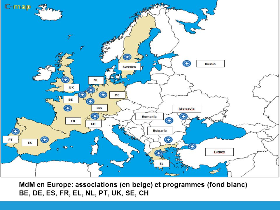 MdM en Europe: associations (en beige) et programmes (fond blanc) BE, DE, ES, FR, EL, NL, PT, UK, SE, CH