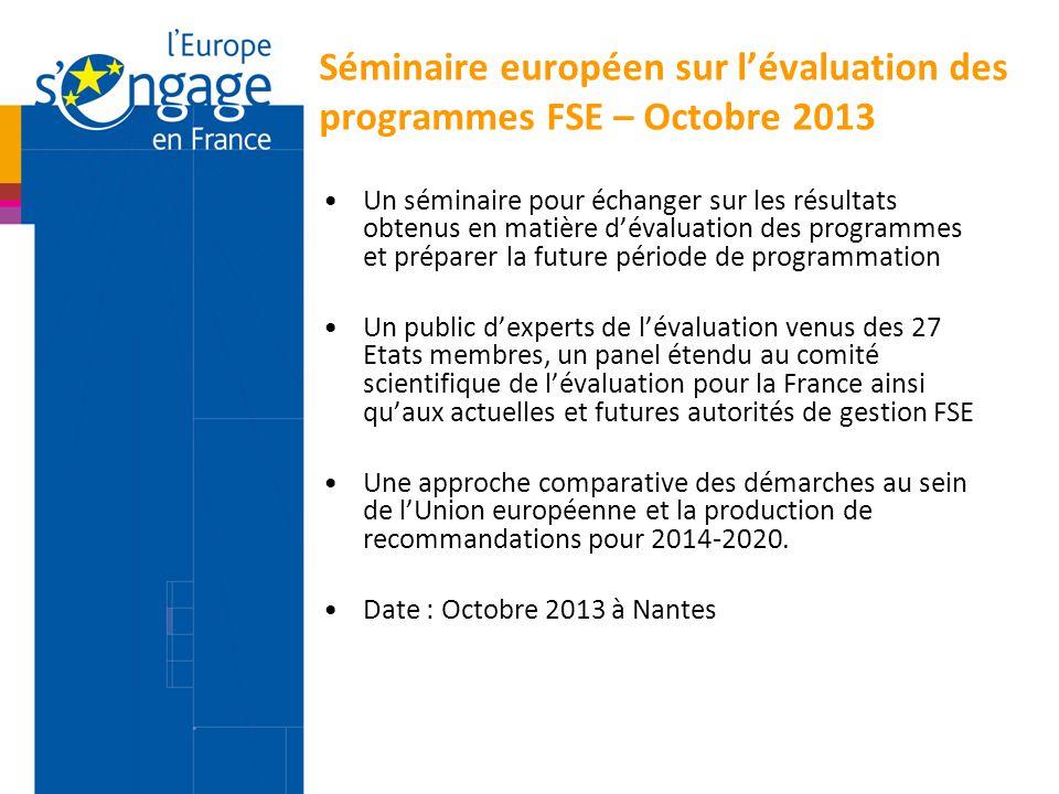 Séminaire européen sur l'évaluation des programmes FSE – Octobre 2013