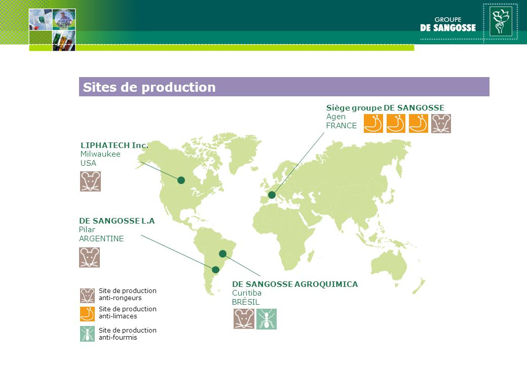 Sites de production Siège groupe DE SANGOSSE Agen FRANCE