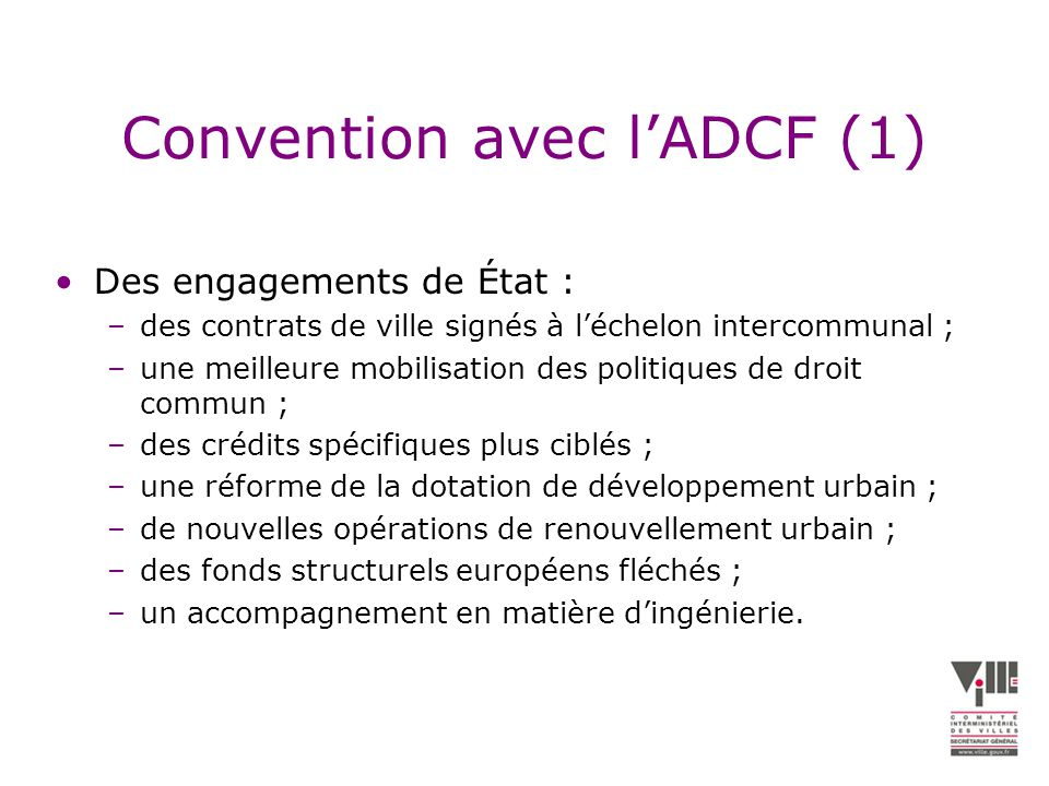 Convention avec l'ADCF (1)