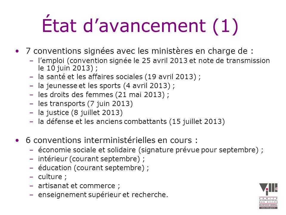 État d'avancement (1) 7 conventions signées avec les ministères en charge de :