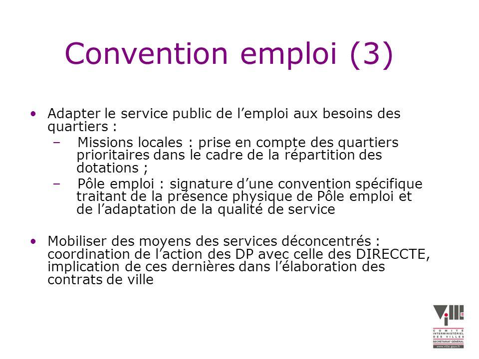 Convention emploi (3) Adapter le service public de l'emploi aux besoins des quartiers :