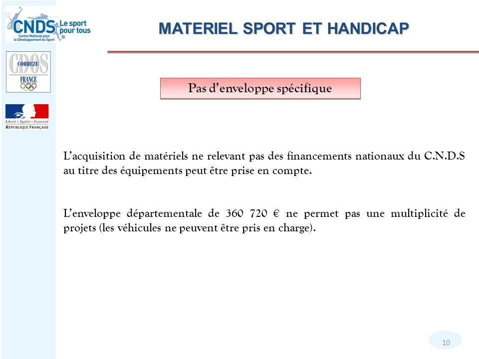 MATERIEL SPORT ET HANDICAP Pas d'enveloppe spécifique