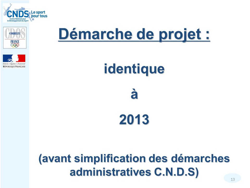 (avant simplification des démarches administratives C.N.D.S)
