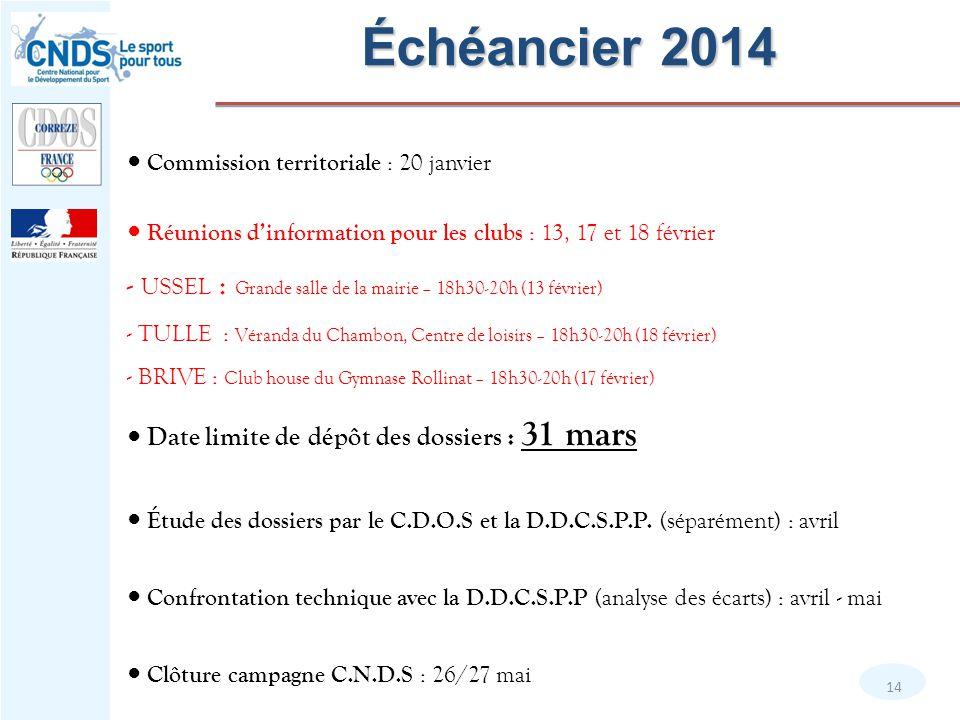 Échéancier 2014 ● Commission territoriale : 20 janvier. ● Réunions d'information pour les clubs : 13, 17 et 18 février.