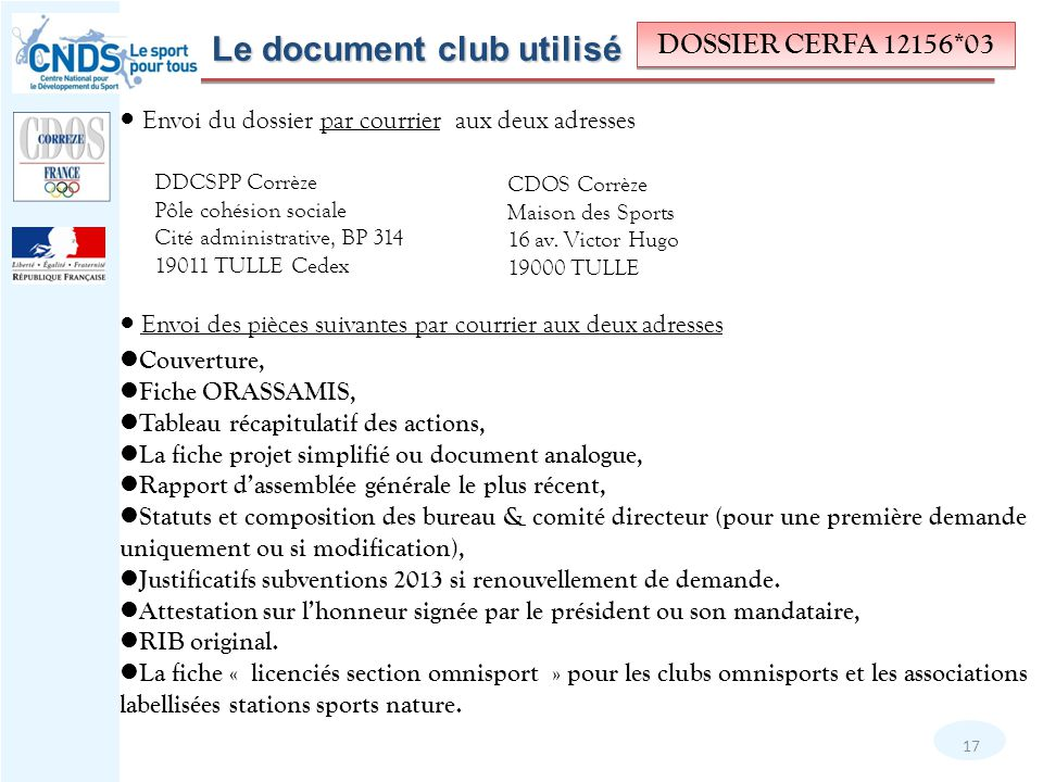 Le document club utilisé