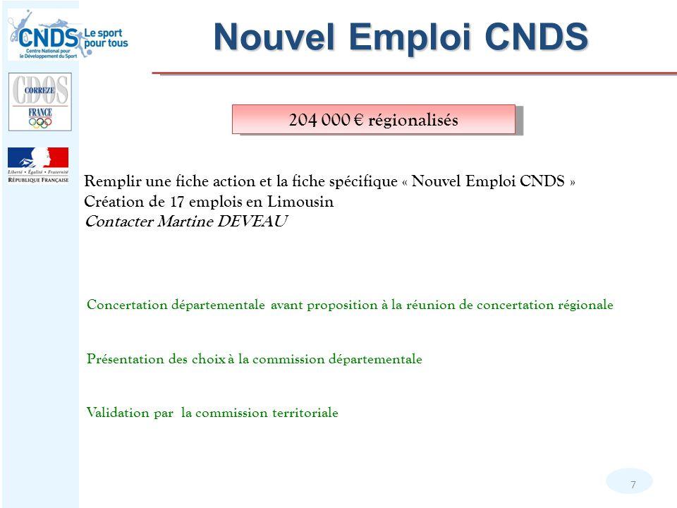 Nouvel Emploi CNDS 204 000 € régionalisés