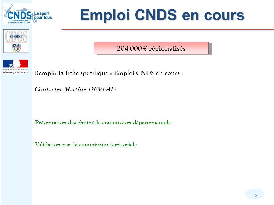 Emploi CNDS en cours 204 000 € régionalisés