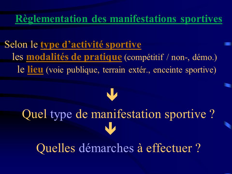 Règlementation des manifestations sportives