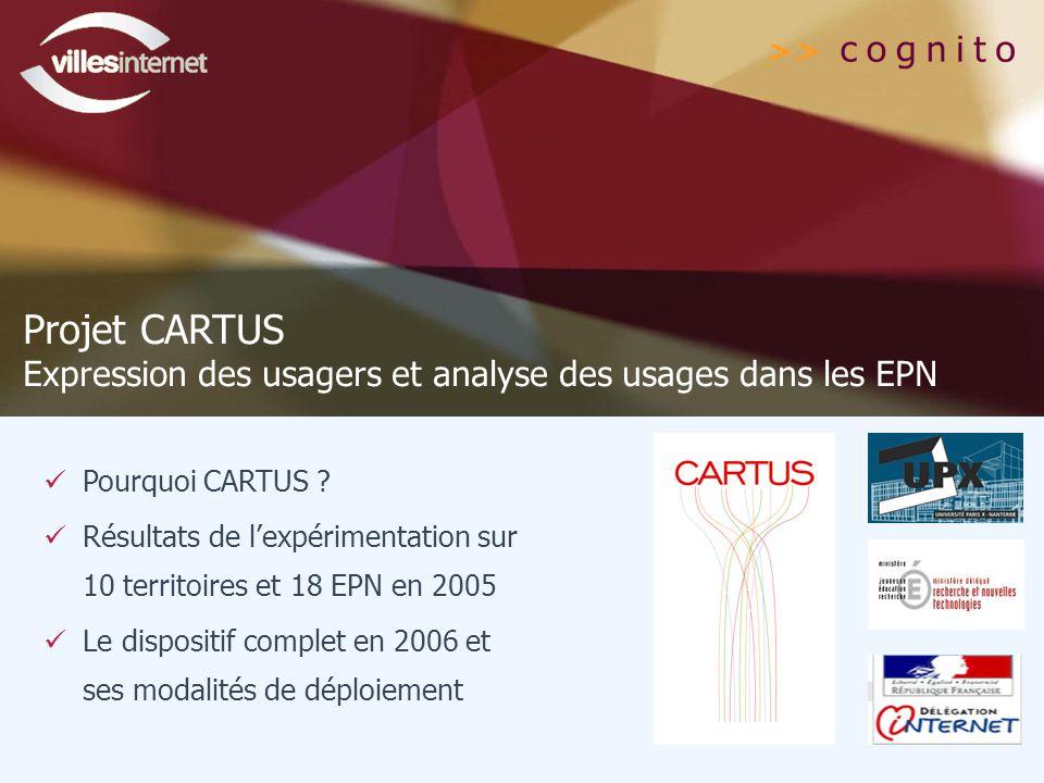 Projet CARTUS Expression des usagers et analyse des usages dans les EPN. Pourquoi CARTUS