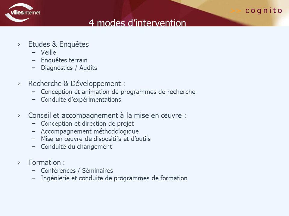4 modes d'intervention Etudes & Enquêtes Recherche & Développement :