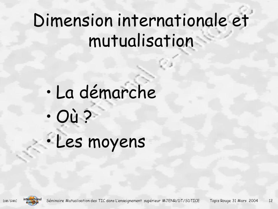 Dimension internationale et mutualisation