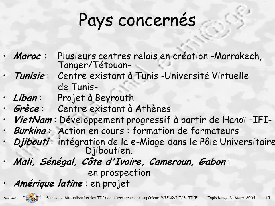 Pays concernés Maroc : Plusieurs centres relais en création -Marrakech, Tanger/Tétouan- Tunisie : Centre existant à Tunis -Université Virtuelle.