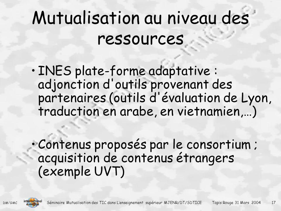 Mutualisation au niveau des ressources