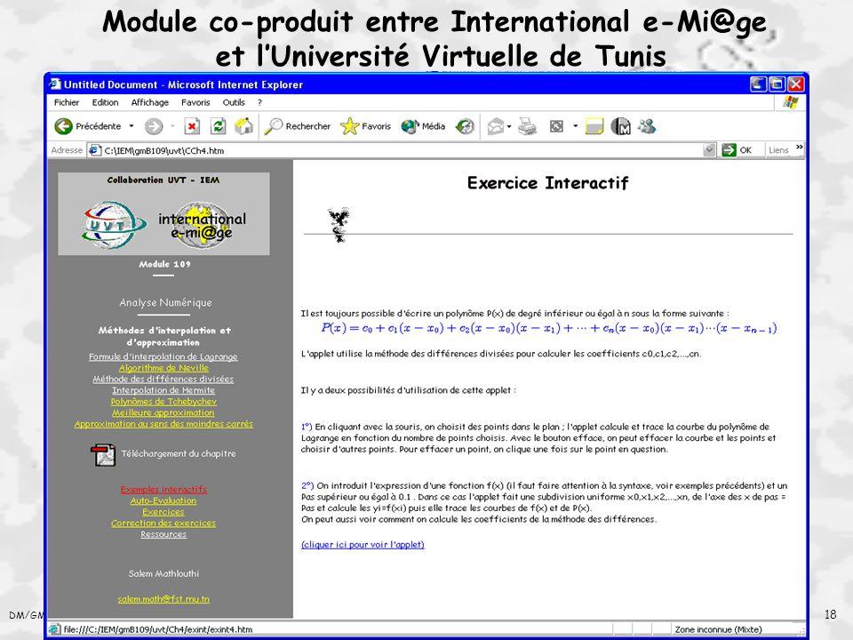 Module co-produit entre International e-Mi@ge