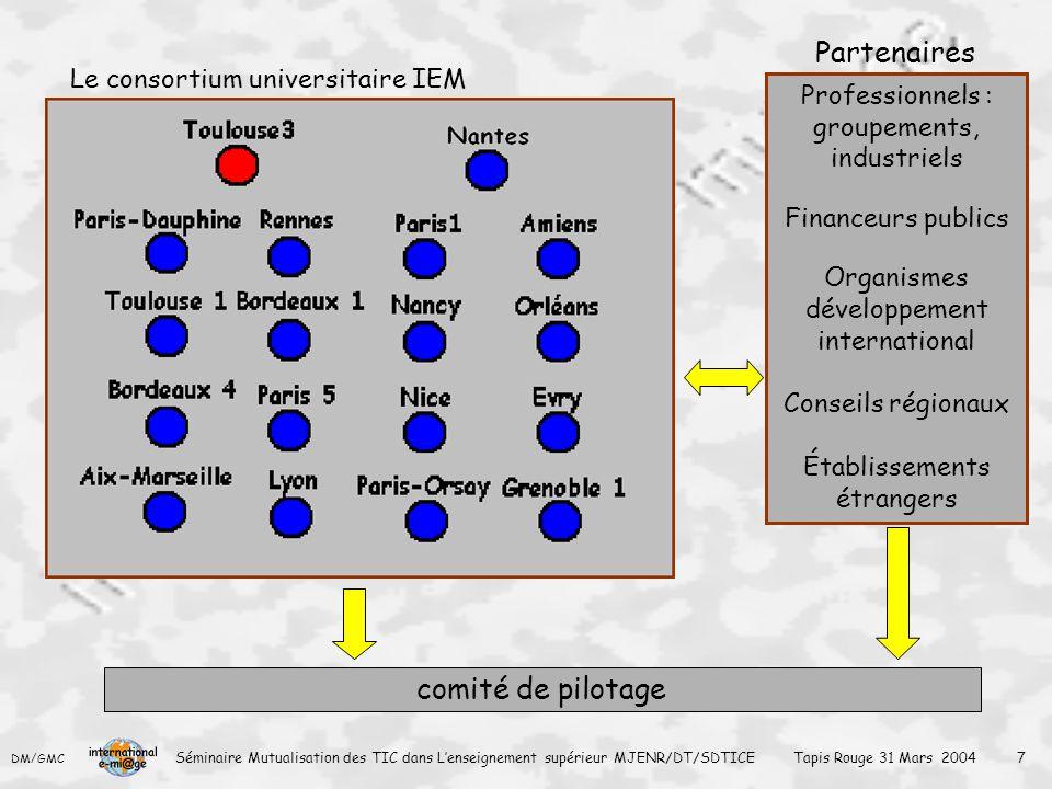 Partenaires comité de pilotage Le consortium universitaire IEM