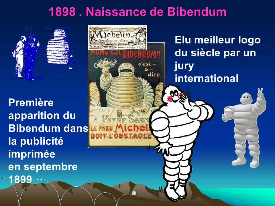1898 . Naissance de Bibendum Elu meilleur logo du siècle par un jury international.