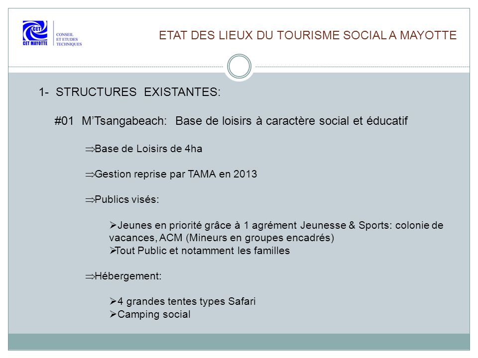 ETAT DES LIEUX DU TOURISME SOCIAL A MAYOTTE