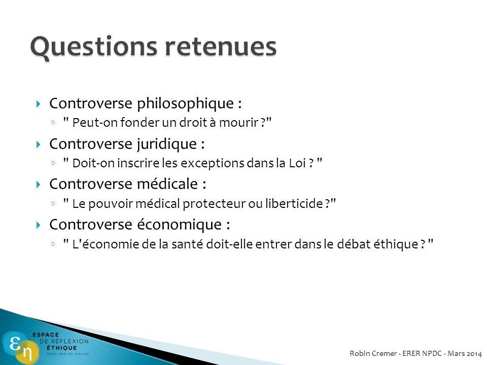 Questions retenues Controverse philosophique : Controverse juridique :