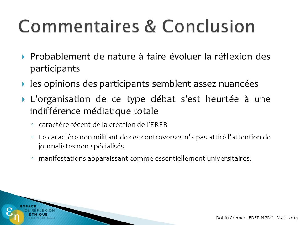 Commentaires & Conclusion