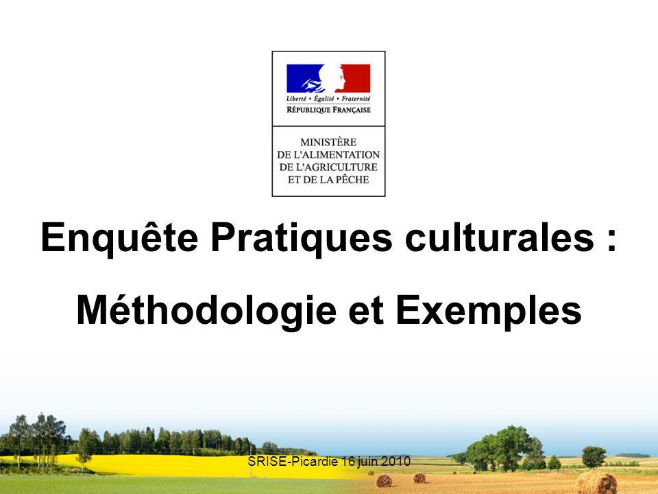 Enquête Pratiques culturales : Méthodologie et Exemples