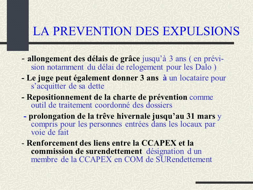 LA PREVENTION DES EXPULSIONS