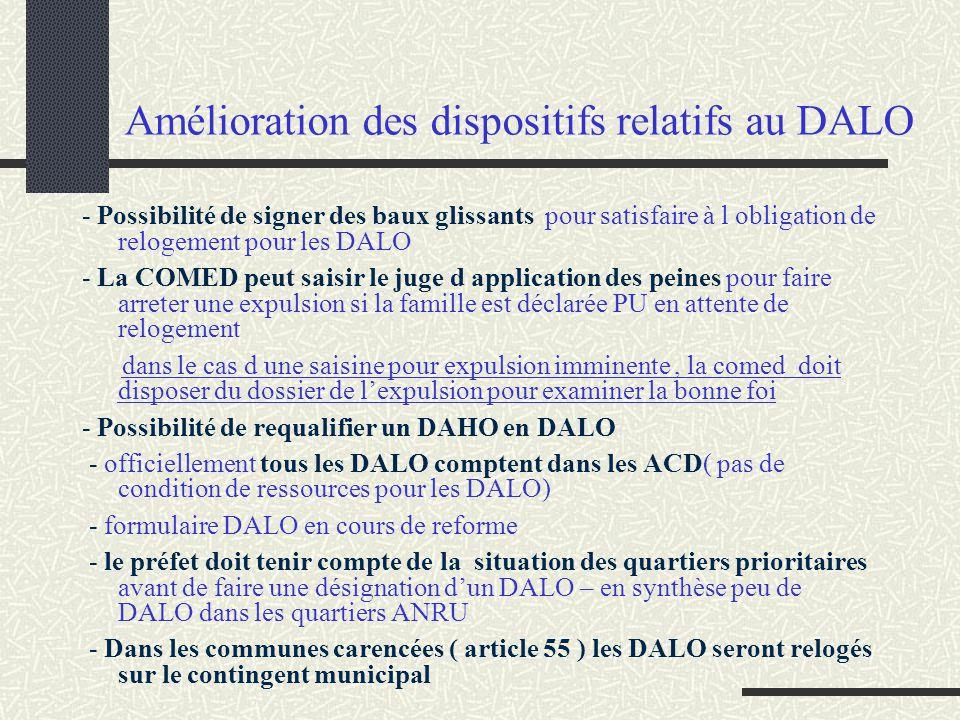 Amélioration des dispositifs relatifs au DALO