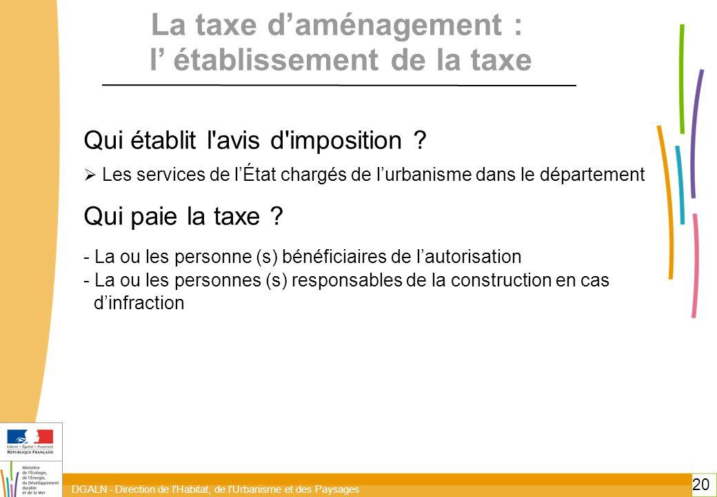 La taxe d'aménagement : l' établissement de la taxe