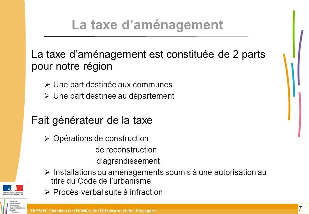 toitototototoot toitototototoot. La taxe d'aménagement. La taxe d'aménagement est constituée de 2 parts pour notre région.