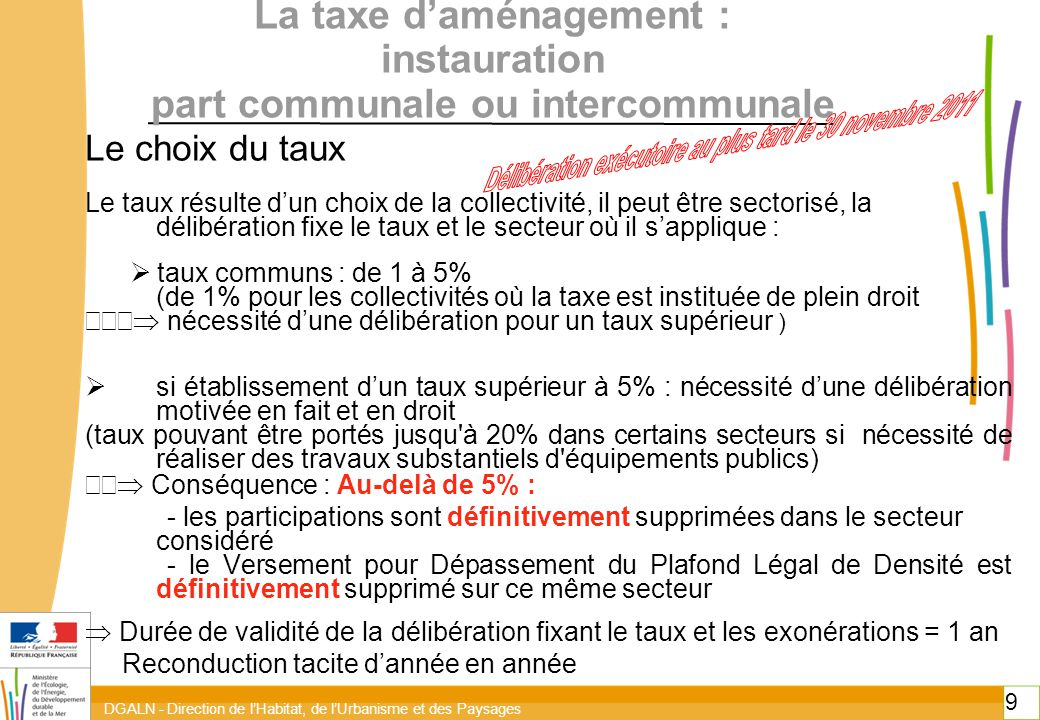 La taxe d'aménagement : instauration part communale ou intercommunale