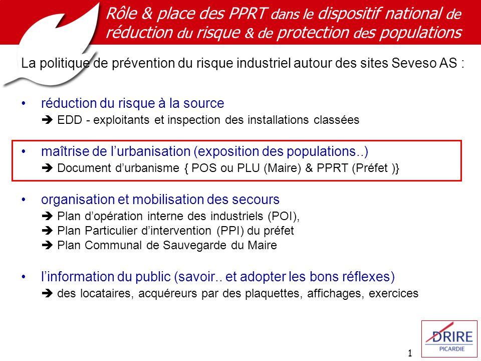 Rôle & place des PPRT dans le dispositif national de réduction du risque & de protection des populations