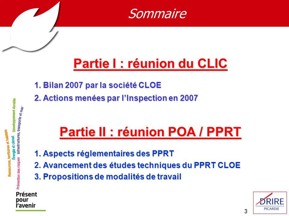 Partie I : réunion du CLIC Partie II : réunion POA / PPRT