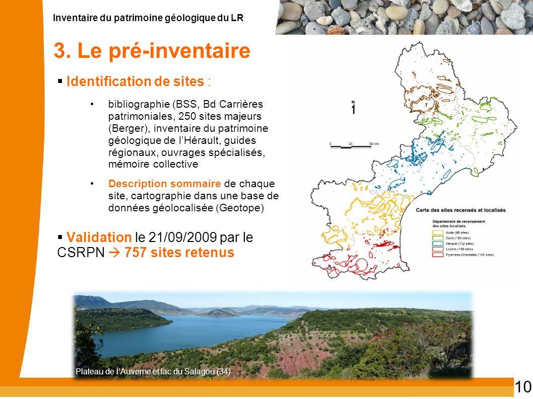 3. Le pré-inventaire Identification de sites :