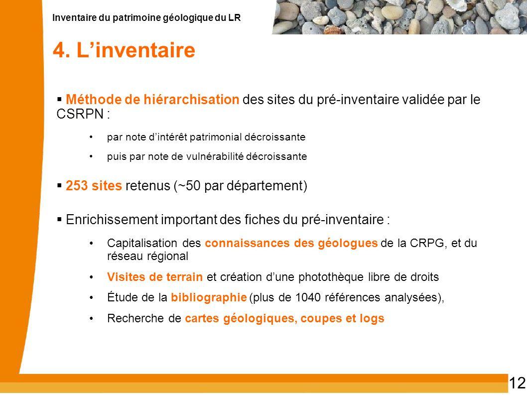4. L'inventaire Méthode de hiérarchisation des sites du pré-inventaire validée par le CSRPN : par note d'intérêt patrimonial décroissante.