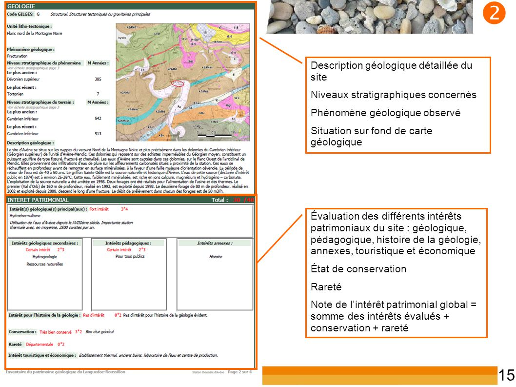  Description géologique détaillée du site