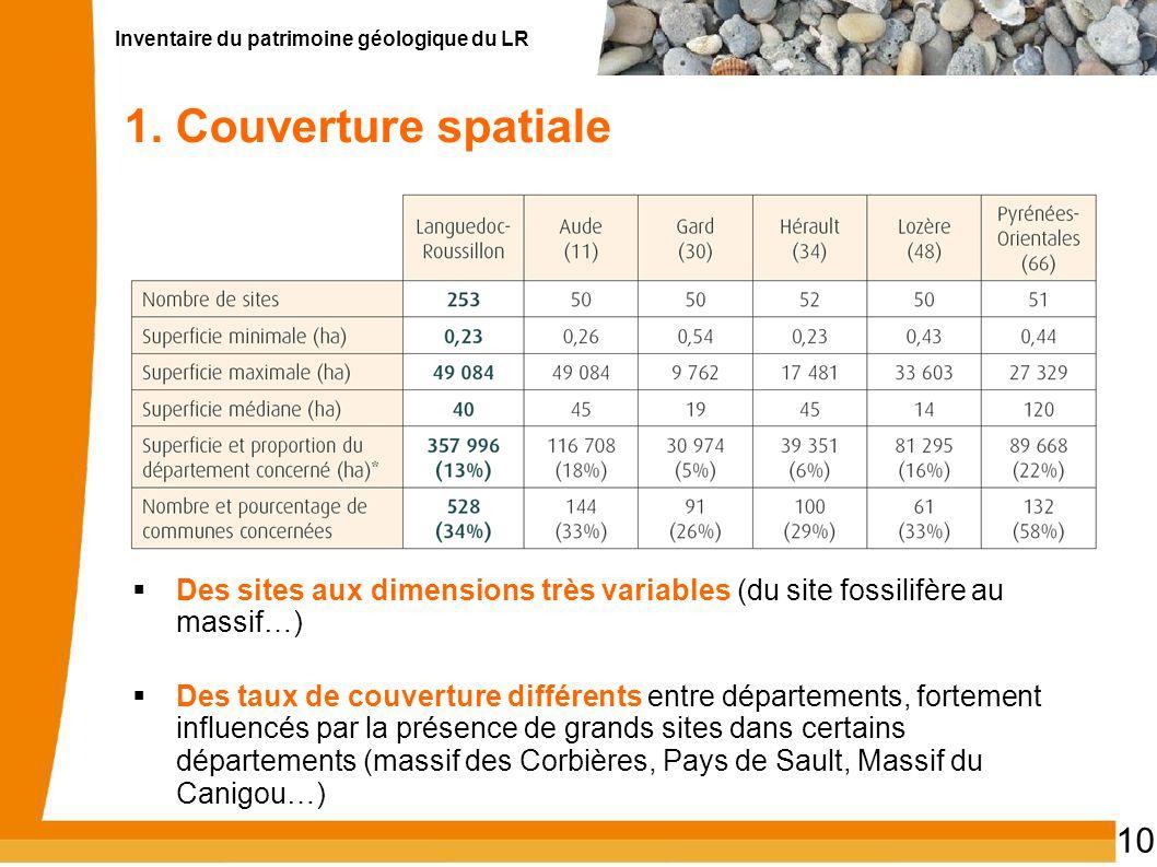 1. Couverture spatiale Des sites aux dimensions très variables (du site fossilifère au massif…)